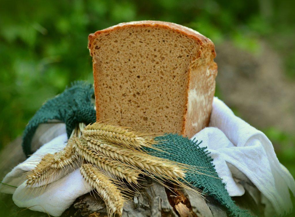 Loaf of barley bread on napkin