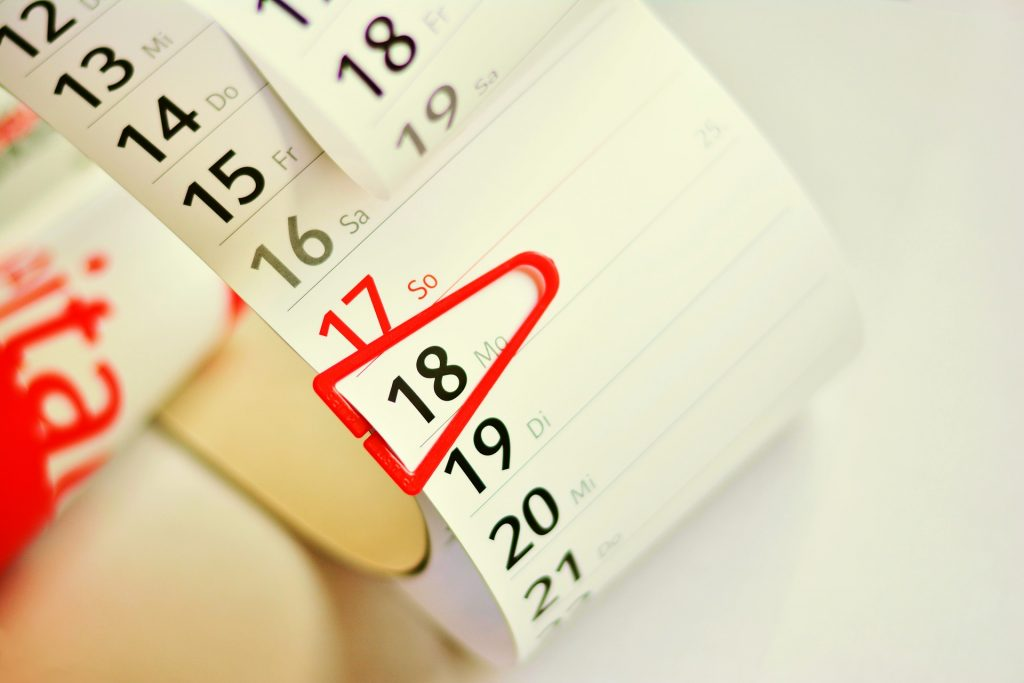 """Calendar with clip pointing to the date """"Monday the 19th"""""""