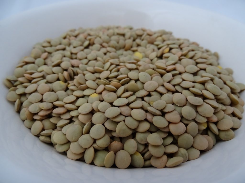 Dried green lentils on a plate.