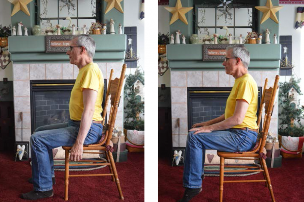 Two images of a man, first sitting with feet flat on the floor, then second with feet and calves raised.