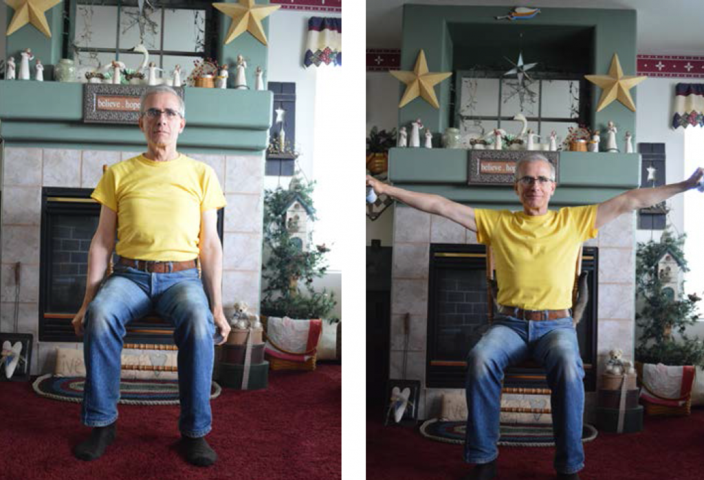 Two images of a man, first sitting with arms down at side of chair, then second with arms lifted up.