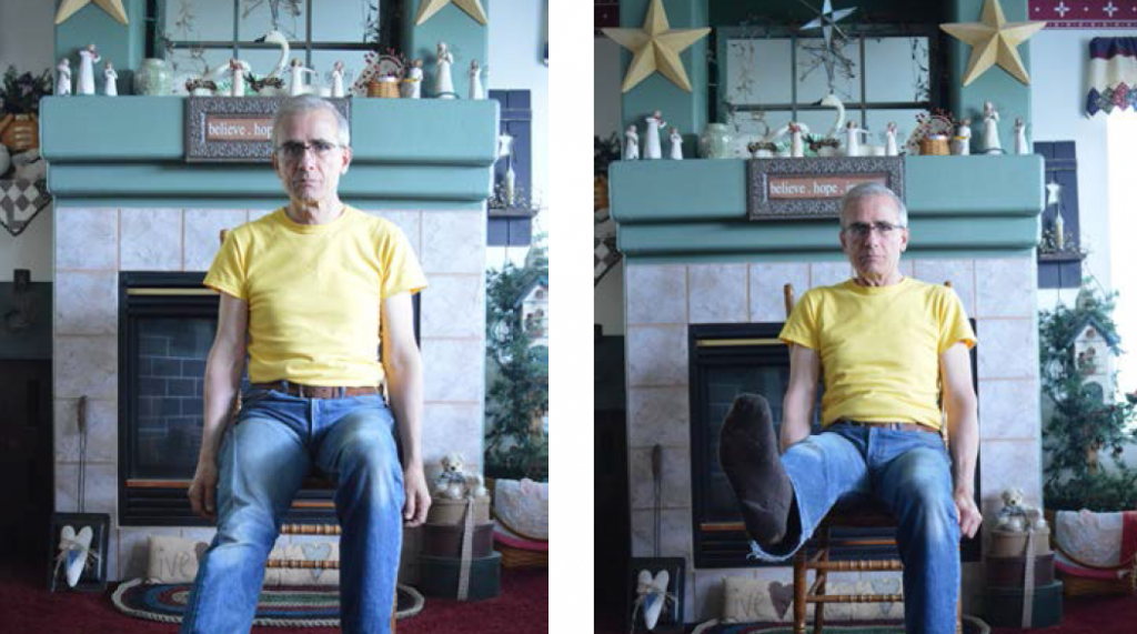 Two images of a man, first sitting with leg extending on the floor, the second with leg lifted up.