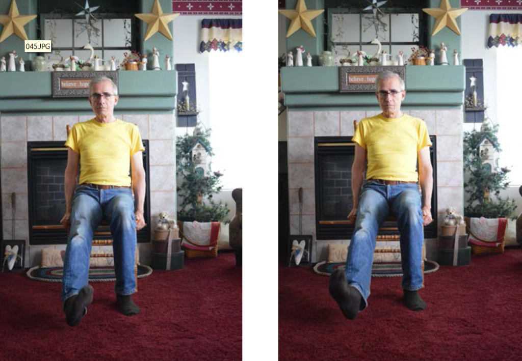 Two images of a man, first with leg straight out, then secondly with ankles moving in a circular direction.