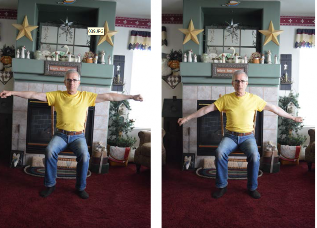 Two images of a man, first sitting with arms out to the side, and the second with arms moving in a circular direction.
