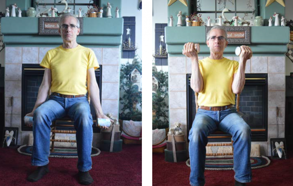 Two images of a man, first sitting with cans in hands at the side of the chair, and then with arms lifted up.