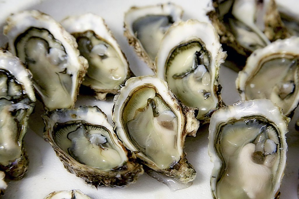 Oysters cracked open on white table.