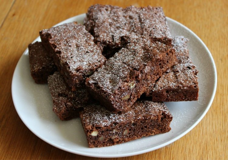 Plate of brownies with walnuts