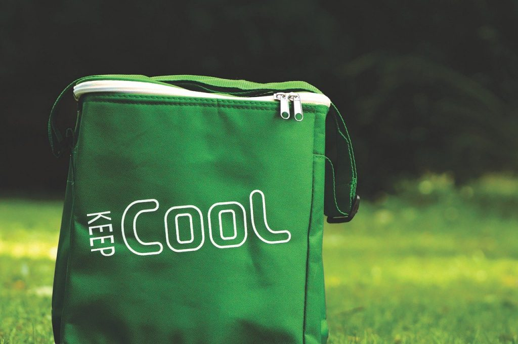 "Green soft cooler outdoors with the words ""keep cool"" on the side."