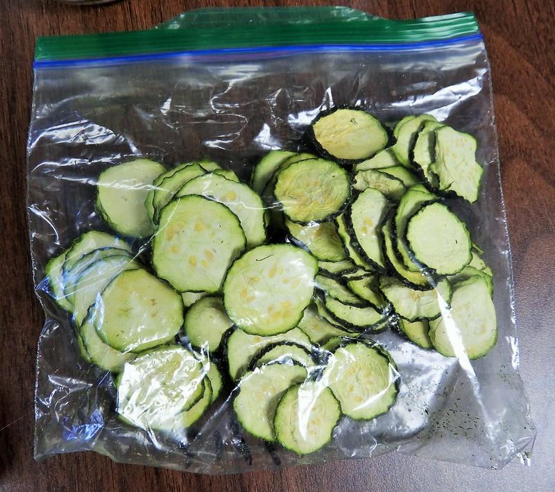 Dried zucchini in a bag.