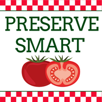 Preserve Smart logo-- the words 'preserve smart' above a cut tomato and a whole tomato.