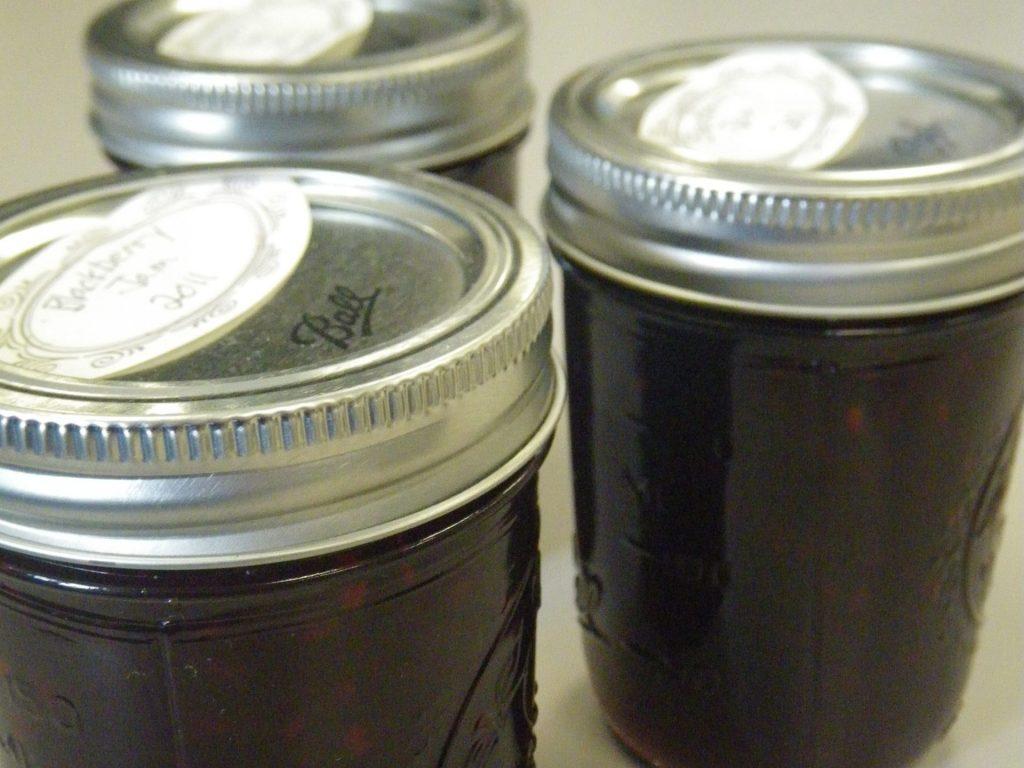 Blackberry jam in jars.