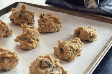 chocolate chip cookie dough on cookie sheet before baking.
