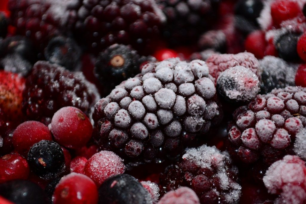 Frozen berries in a pile.