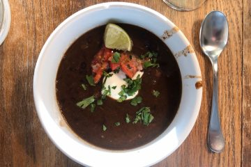 Black Bean and Salsa Soup in a bowl.
