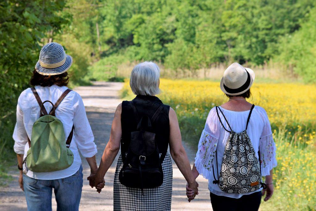 Women friends walking together