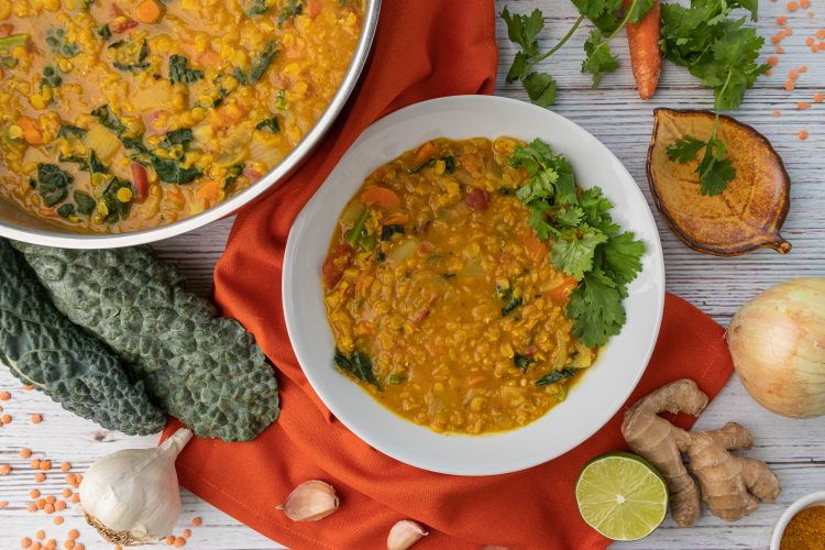 Lentil curry - COPYRIGHT. Recipe and photo by A Legume a Day (https://alegumeaday.com/).